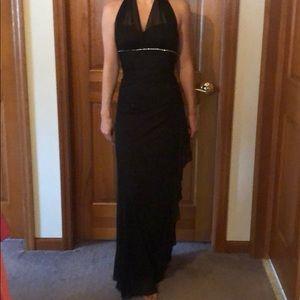 Black floor length halter dress with rhinestone